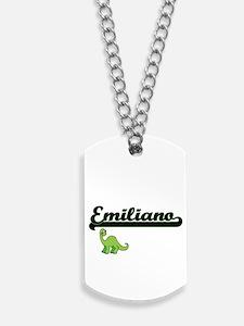 Emiliano Classic Name Design with Dinosau Dog Tags