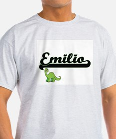 Emilio Classic Name Design with Dinosaur T-Shirt