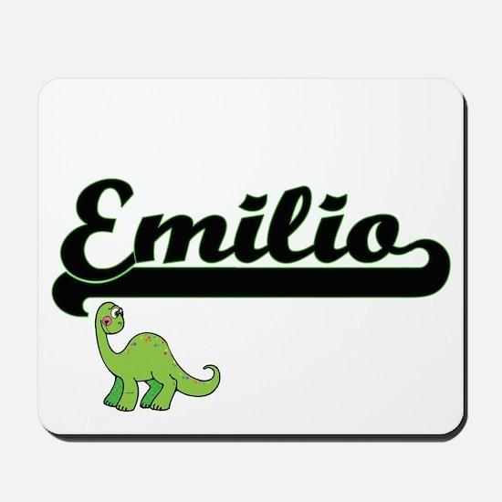 Emilio Classic Name Design with Dinosaur Mousepad