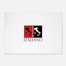 Italiano: Red Black 5'x7'Area Rug