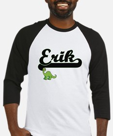 Erik Classic Name Design with Dino Baseball Jersey