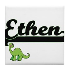 Ethen Classic Name Design with Dinosa Tile Coaster