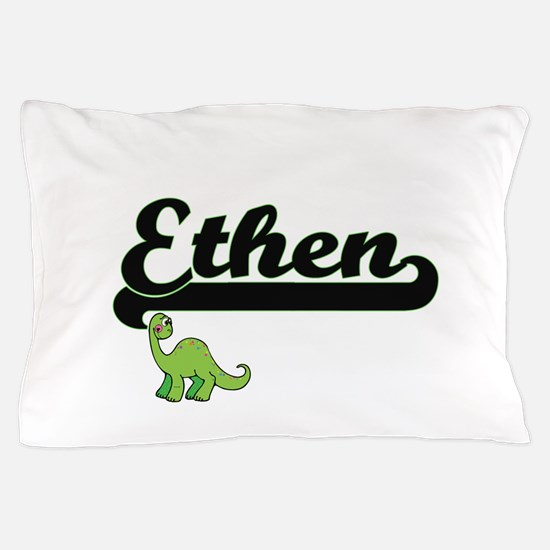 Ethen Classic Name Design with Dinosau Pillow Case