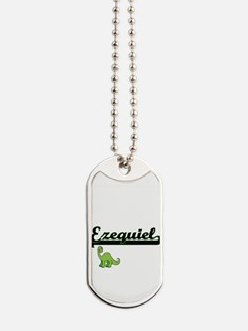 Ezequiel Classic Name Design with Dinosau Dog Tags