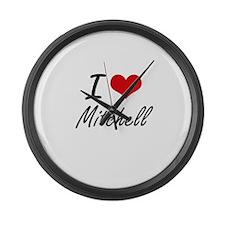 I Love Mitchell Large Wall Clock