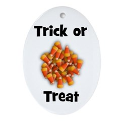 Trick or Treat (candy corn) Oval Ornament