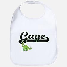 Gage Classic Name Design with Dinosaur Bib