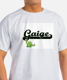 Gaige Classic Name Design with Dinosaur T-Shirt
