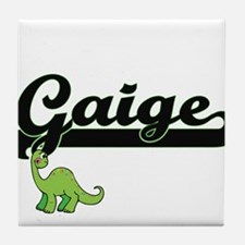 Gaige Classic Name Design with Dinosa Tile Coaster
