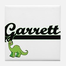 Garrett Classic Name Design with Dino Tile Coaster