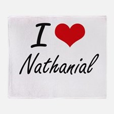 I Love Nathanial Throw Blanket
