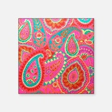 "Pink Paisley Square Sticker 3"" x 3"""