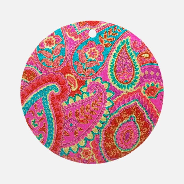 Pink Paisley Round Ornament