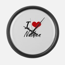 I Love Nathen Large Wall Clock