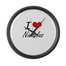 I Love Nickolas Large Wall Clock