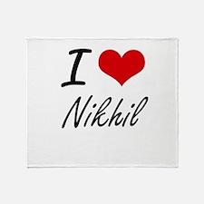 I Love Nikhil Throw Blanket