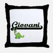 Giovani Classic Name Design with Dino Throw Pillow