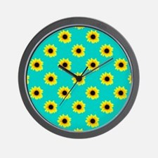 Pretty Sunflower Pattern with Blue Background Wall