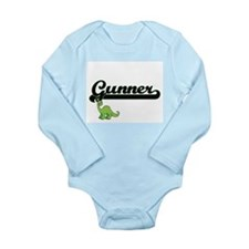 Gunner Classic Name Design with Dinosaur Body Suit