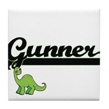 Gunner Classic Name Design with Dinos Tile Coaster