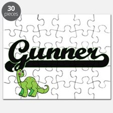 Gunner Classic Name Design with Dinosaur Puzzle
