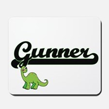 Gunner Classic Name Design with Dinosaur Mousepad