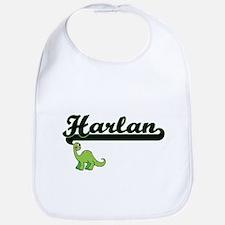 Harlan Classic Name Design with Dinosaur Bib