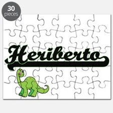 Heriberto Classic Name Design with Dinosaur Puzzle