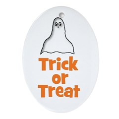 Trick or Treat (ghost) Oval Ornament