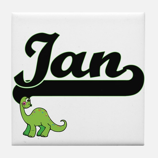 Ian Classic Name Design with Dinosaur Tile Coaster