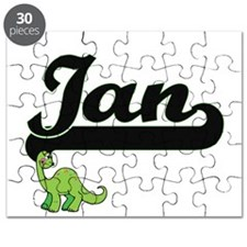 Ian Classic Name Design with Dinosaur Puzzle