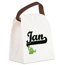 Ian Classic Name Design with Dino Canvas Lunch Bag