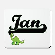Ian Classic Name Design with Dinosaur Mousepad