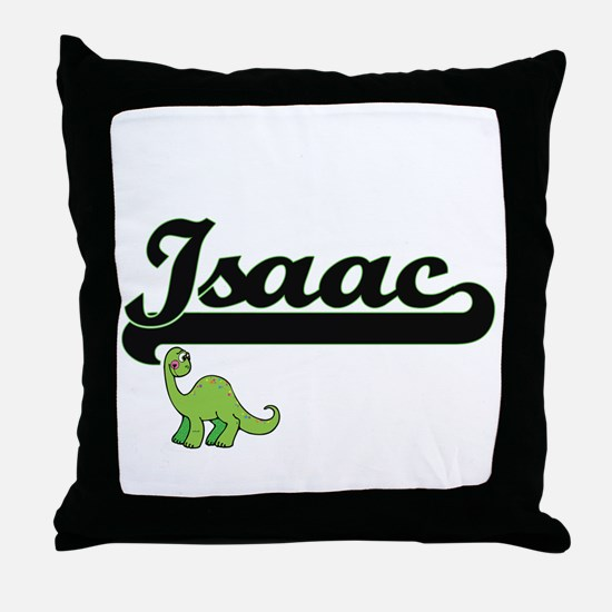 Isaac Classic Name Design with Dinosa Throw Pillow