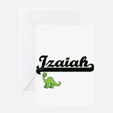 Izaiah Classic Name Design with Din Greeting Cards