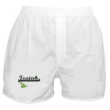 Izaiah Classic Name Design with Dinos Boxer Shorts