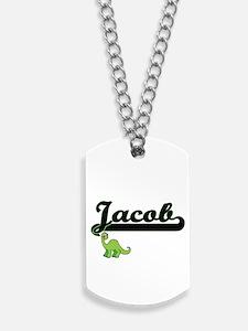 Jacob Classic Name Design with Dinosaur Dog Tags