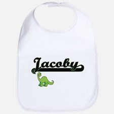 Jacoby Classic Name Design with Dinosaur Bib