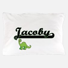 Jacoby Classic Name Design with Dinosa Pillow Case