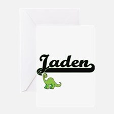 Jaden Classic Name Design with Dino Greeting Cards