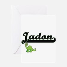 Jadon Classic Name Design with Dino Greeting Cards