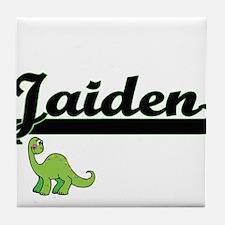 Jaiden Classic Name Design with Dinos Tile Coaster