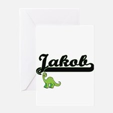 Jakob Classic Name Design with Dino Greeting Cards
