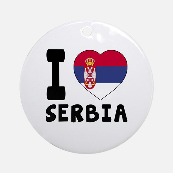 I Love Serbia Round Ornament