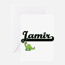 Jamir Classic Name Design with Dino Greeting Cards
