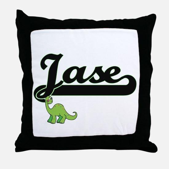 Jase Classic Name Design with Dinosau Throw Pillow