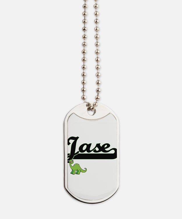Jase Classic Name Design with Dinosaur Dog Tags