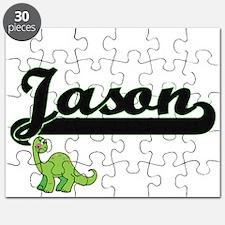 Jason Classic Name Design with Dinosaur Puzzle