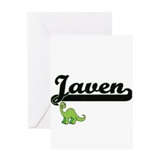 Javen Classic Name Design with Dino Greeting Cards