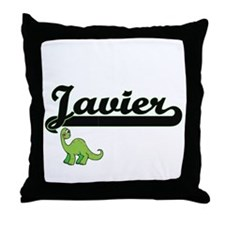 Javier Classic Name Design with Dinos Throw Pillow